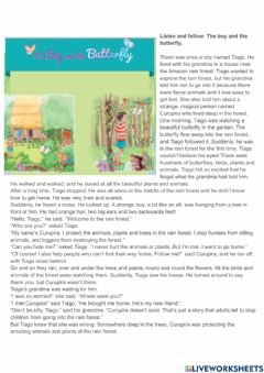 Interactive worksheet Story: The boy and the Butterfly
