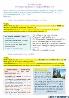 Interactive worksheet Verbs + -ing-to-infinitive- infinitive without to. Relatives (who-which-where). Reported statements