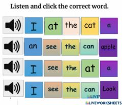 Interactive worksheet Sight words look, at, the , an