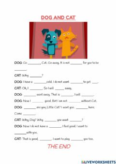 Interactive worksheet Dog and Cat