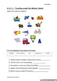 Interactive worksheet Travellling in the Maltese Islands