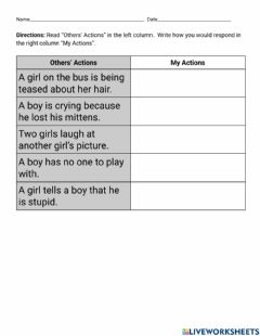 Interactive worksheet Empathy (What Would You Say?)