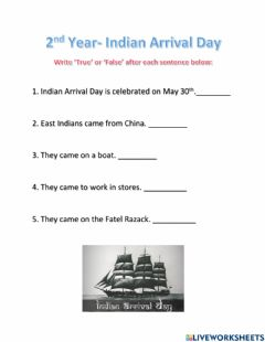 Interactive worksheet Indian Arrival Day