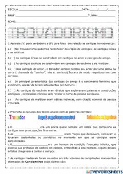 Interactive worksheet Trovadorismo