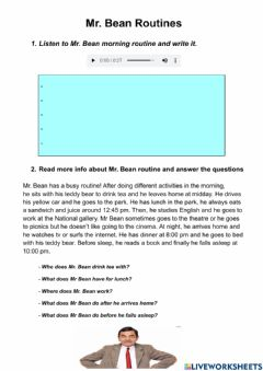 Interactive worksheet Mr. Bean routine