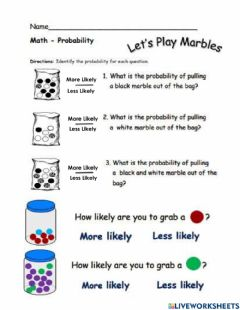 Interactive worksheet Marble Probability