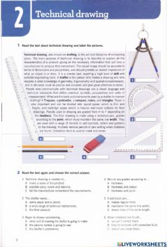 Ficha interactiva TECHNICAL DRAWING - Book Flash on English for Mechanics, Electronics and Technical Assistance