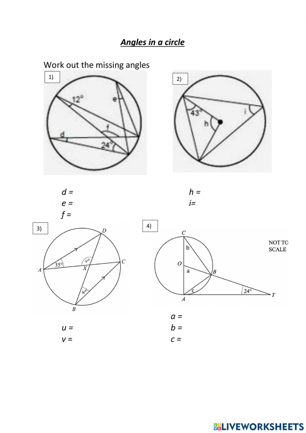 Angles in a circle worksheet With Regard To Angles In A Circle Worksheet