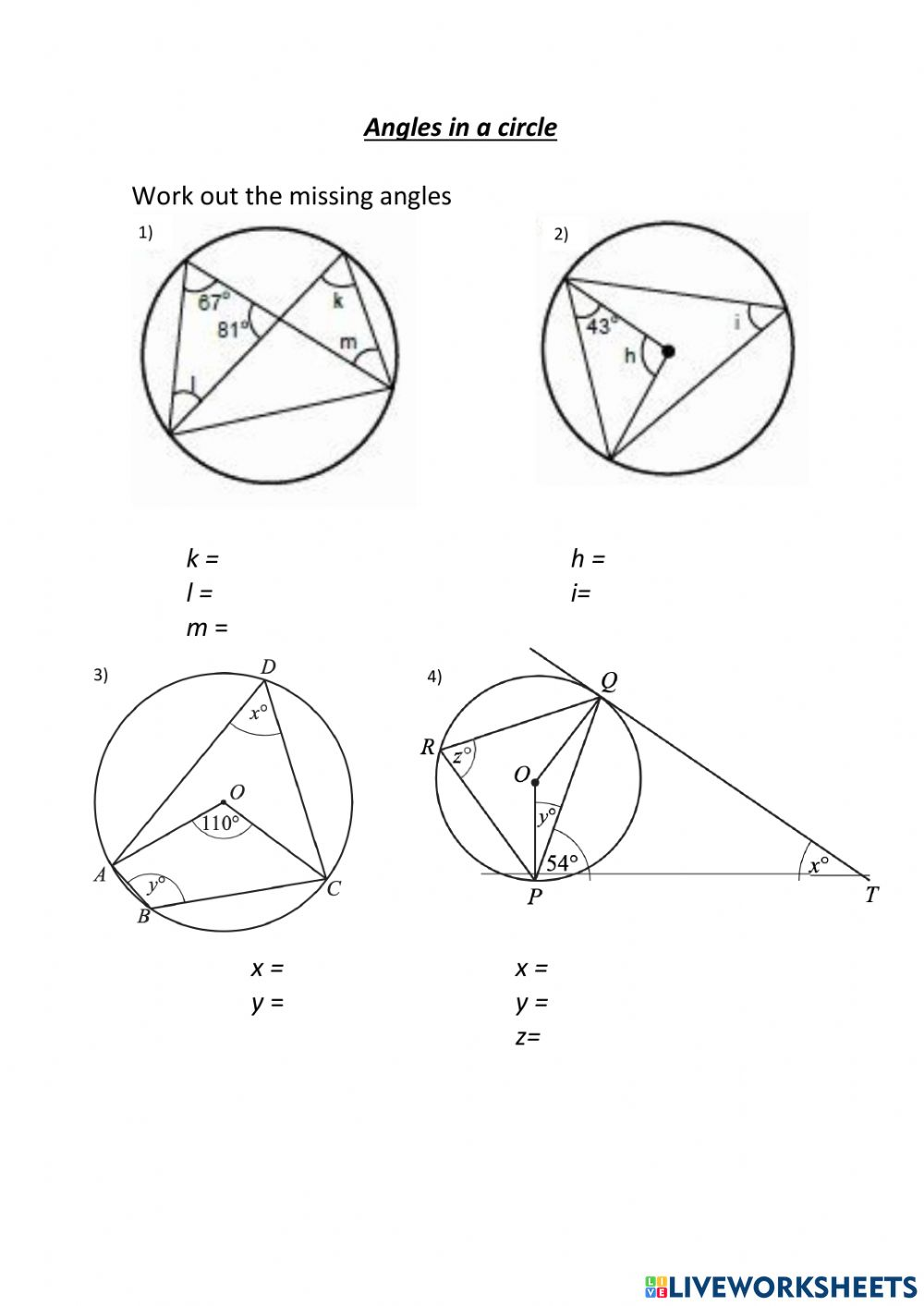 Angles in a circle interactive worksheet Throughout Angles In A Circle Worksheet
