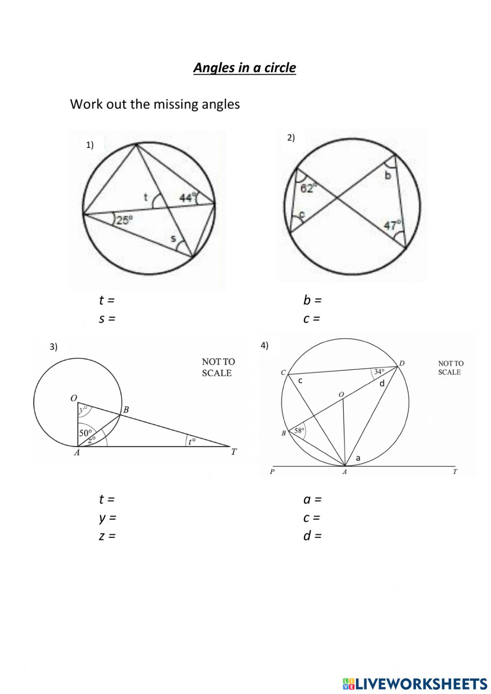 Angles in a circle activity With Angles In A Circle Worksheet