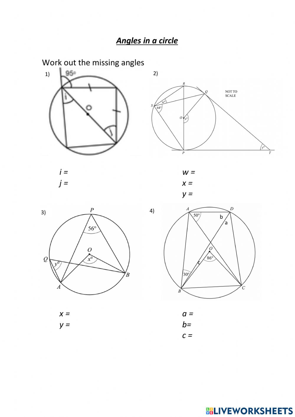 Angles in a circle exercise Regarding Angles In A Circle Worksheet