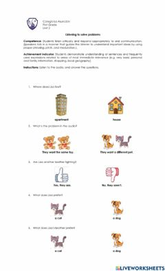 Interactive worksheet Listening to solve problems