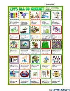 Interactive worksheet Eco friendly actions