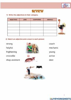 Interactive worksheet Review vocabulary 2eso