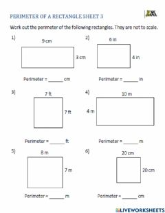 Interactive worksheet Find the perimeter of a rectangle
