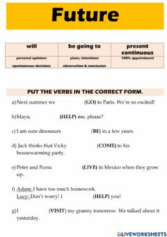 Interactive worksheet Future: will - be going to - present continuous