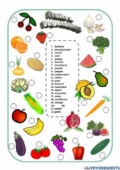 Interactive worksheet Food and health - Worksheet 1