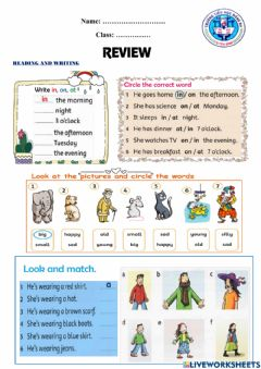 Interactive worksheet Review 2-Grade 3-2nd Semester