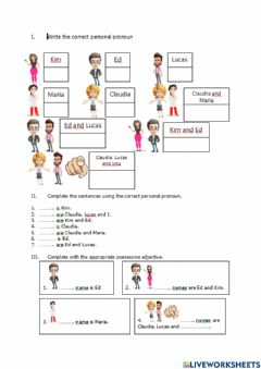 Interactive worksheet Persoanl pronouns and possessive adjectives