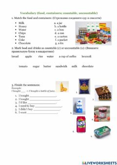 Interactive worksheet Food and containers, countable and uncountable food