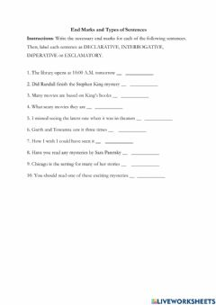 Interactive worksheet Grade 8 - End marks and Types of Sentences
