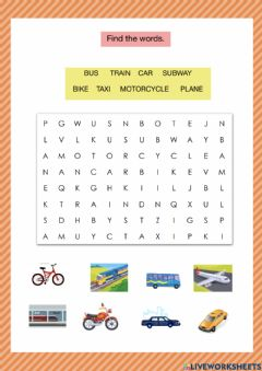 Interactive worksheet Means of transportation - wordsearch