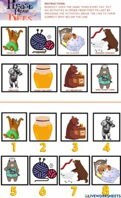 Interactive worksheet Please Please the Bees Sequencing