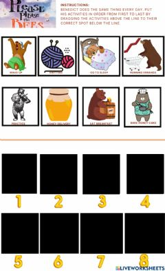 Interactive worksheet Please Please the Bees Sequencing Advanced