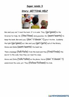 Interactive worksheet Super minds 3 Story Getting help
