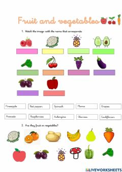 Interactive worksheet Fruits and vegetables 1
