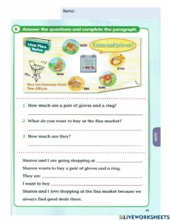 Interactive worksheet How much for  prices