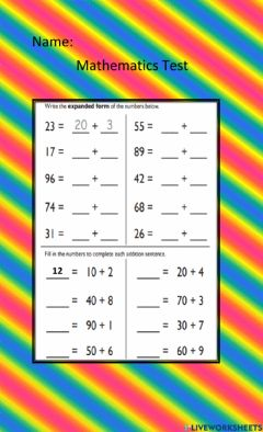 Interactive worksheet Tens and ones