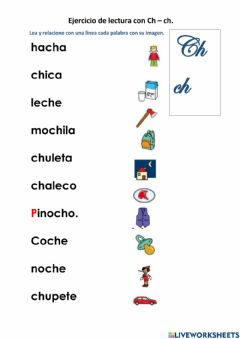 Interactive worksheet Lectura con Ch