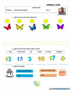 Interactive worksheet Numbers and color