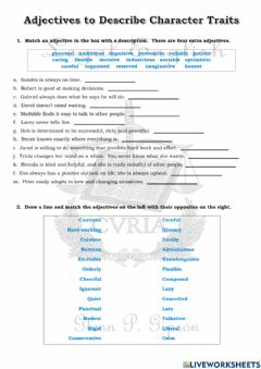 Ficha interactiva Adjectives to Describe Character Traits
