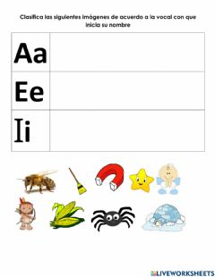 Interactive worksheet Vocales a-i