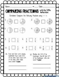 Interactive worksheet Comparing fractions with same numerator