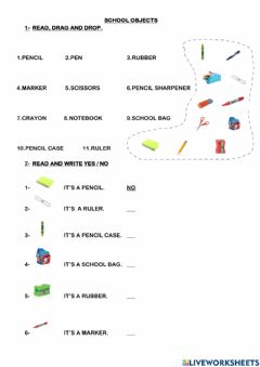 Ficha interactiva School objects and places at school
