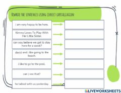 Interactive worksheet Capitalize the Sentence