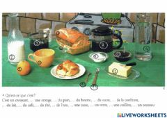 Interactive worksheet Articles partitifs: introduction - Petit déjeuner