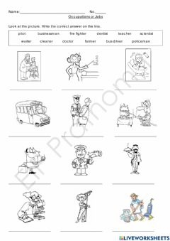 Interactive worksheet Occupations