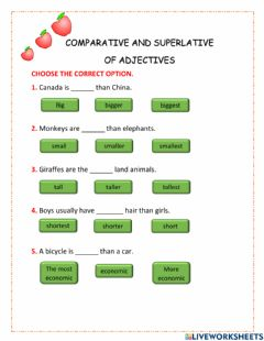 Interactive worksheet Comparative and superlative of adjectives