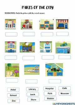 Interactive worksheet Parts of the City