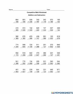 Ficha interactiva Addition and Subtraction Worksheet