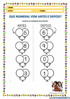 Interactive worksheet Que Numeral Vem Antes e Depois?