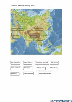 Interactive worksheet Asia phisical map