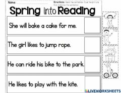 Interactive worksheet Spring into reading
