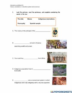 Interactive worksheet Colonial era in Colombia