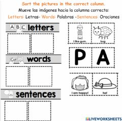 Interactive worksheet Letter word or sentence