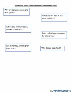 Interactive worksheet Science questions